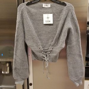 LF Seek the Label Chunky Corset Lace Up Sweater